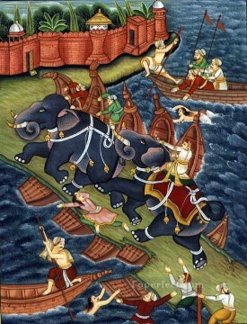 Artworks in 150 Subjects Painting - Akbar Restrains Hawai Enraged Elephant from India