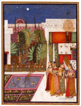 Popular Indian Painting - Four Women in a Palace Garden from India