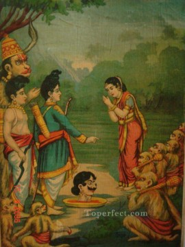 Popular Indian Painting - Sulochana receives the head of her husband Indrajit from India