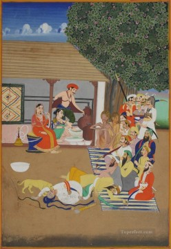 Popular Indian Painting - Revellers intoxicated and incapable during a visit to a bhang wallah from India