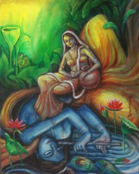 Radha Krishna 31 Hinduism Oil Paintings