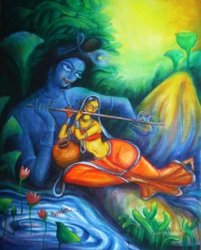 Radha Krishna 9 Hinduism Oil Paintings