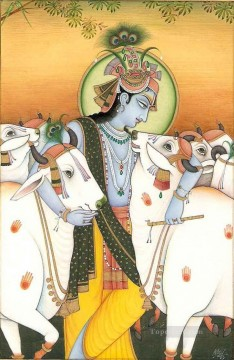 Radha Krishna Painting - Indian Radha and cows