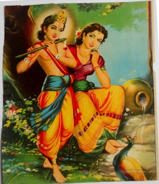 Murali Manohar Krishna with Radharani Hinduism Oil Paintings