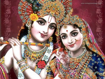Radha Krishna 16 Hinduism Oil Paintings