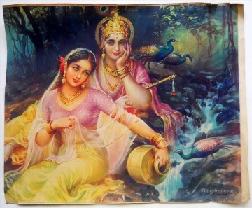 Radha and Krishna in Romantic Mood Hinduism Oil Paintings
