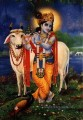 krishna and cow with peacock Hinduism