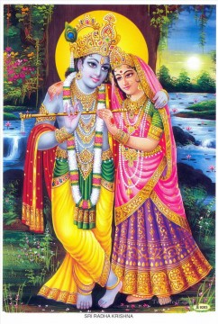 Radha Krishna 6 Hindu Oil Paintings