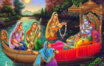 Radha Krishna in a boat Hindoo Oil Paintings