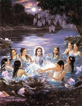 Girls Canvas - Radha Krishna and girls in pond Hindoo