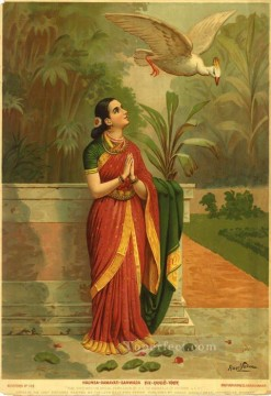 HAUNSA DAMAYATI SANWADA Raja Ravi Varma Indians Oil Paintings