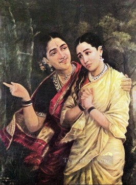Raja Ravi Varma Simhika and Sairandhri Oil Paintings