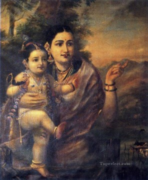 Raja Ravi Varma Yasoda with Krishna Oil Paintings