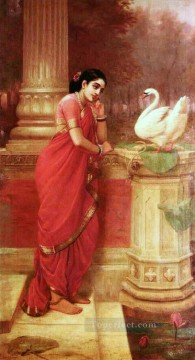 Ravi Varma Princess Damayanthi talking with Royal Swan about Nala Oil Paintings