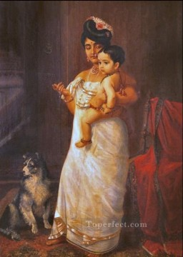 Raja Ravi Varma There Comes Papa 1893 Oil Paintings