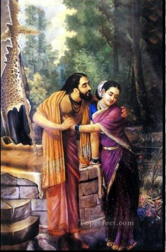 Subhadra Oil Painting - Ravi Varma Arjuna and Subhadra