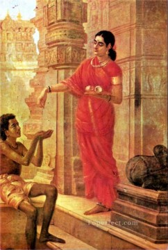 Ravi Varma Lady Giving Alms at the Temple Oil Paintings
