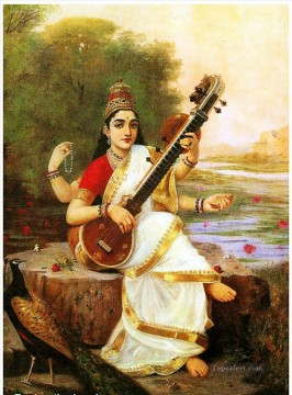 saraswathi Raja Ravi Varma Indians Oil Paintings