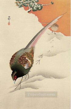 Japanese Painting - a pair of pheasants in the snow Ohara Koson Japanese