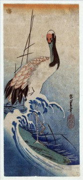 Artworks in 150 Subjects Painting - crane in waves 1835 Utagawa Hiroshige Japanese