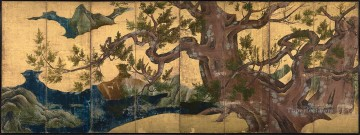 Japanese Painting - cypress trees Kano Eitoku Japanese