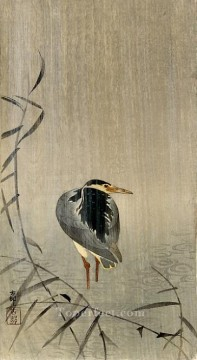 Japanese Painting - heron in downpour Ohara Koson Japanese