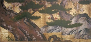 Artworks in 150 Subjects Painting - pine cherrytrees and rocks Kano Eitoku Japanese.JPG