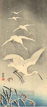 white birds in snow Ohara Koson Japanese Oil Paintings