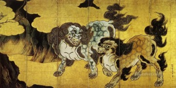 Japanese Painting - Chinese Lion Kano Eitoku Japanese