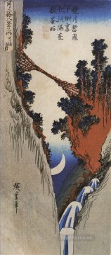 Japanese Painting - a bridge across a deep gorge Utagawa Hiroshige Japanese