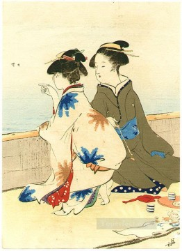 Japanese Painting - at the shore Kiyokata Kaburagi Japanese