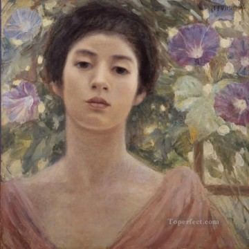 Japanese Painting - fujishima takeji morning glory and women oil Japanese