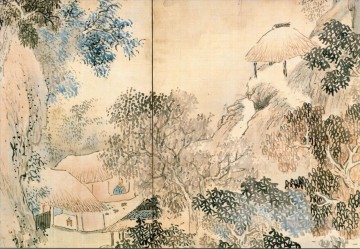 Japanese Painting - hermit in banda in mountains Yosa Buson Japanese
