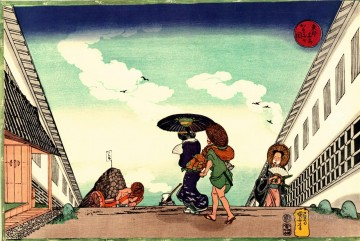 Japanese Painting - high noon at kasumigaseki Utagawa Kuniyoshi Japanese