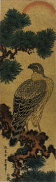 Artworks in 150 Subjects Painting - kachoga falcon on a pine branch rising sun above Utagawa Toyokuni Japanese