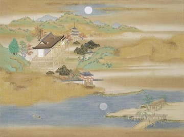 landscape around ishiyama dera and lake biwa Tosa Mitsuoki Japanese Oil Paintings