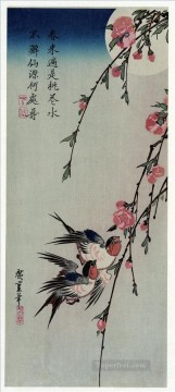 Artworks in 150 Subjects Painting - moon swallows and peach blossoms Utagawa Hiroshige Japanese