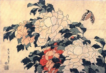 Japanese Painting - poenies and butterfly Katsushika Hokusai Japanese