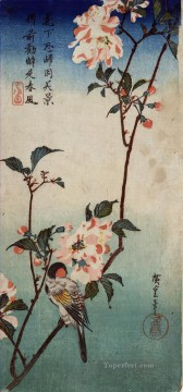 small Art - small bird on a branch of kaidozakura 1838 Utagawa Hiroshige Japanese