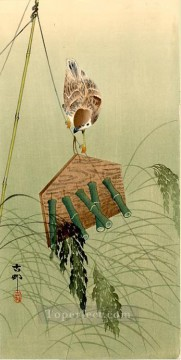 Japanese Painting - sparrow and scarecrow Ohara Koson Japanese