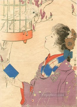 Japanese Painting - talking to parrot Kiyokata Kaburagi Japanese