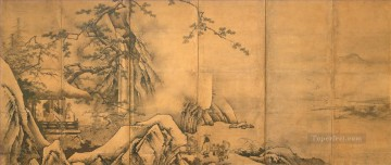 Japanese Painting - the four accomplishments met Kano Motonobu Japanese