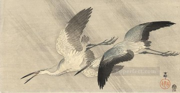hero beijing opera jacky chen Painting - two herons in flight Ohara Koson Japanese