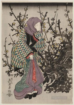 Japanese Painting - woman by plum tree at night 1847 Keisai Eisen Japanese