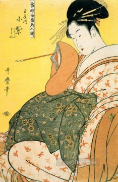 Komurasaki of the Tamaya with pipe in hand Kitagawa Utamaro Japanese Oil Paintings