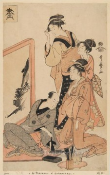 Japanese Painting - The four virtues Kitagawa Utamaro Japanese