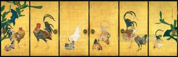 Artworks in 150 Subjects Painting - cactus and roosters 1789 Ito Jakuchu Japanese