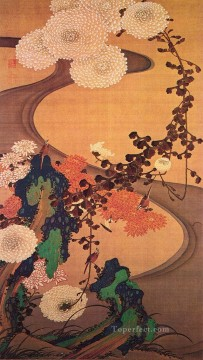 stream Painting - chrysanthemums by a stream with rocks 1760 Ito Jakuchu Japanese