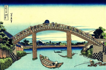 Katsushika Canvas - fuji seen through the mannen bridge at fukagawa Katsushika Hokusai Japanese