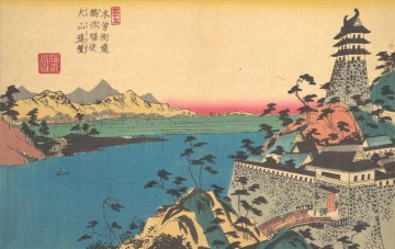 Japanese Painting - the castle of unuma Keisai Eisen Japanese